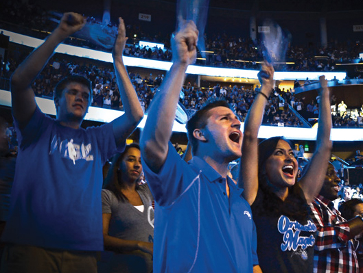 Fans enjoy an Orlando Magic basketball game.